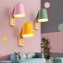 Tapered Shade Wall Lamp with Wooden Base Macaron Nordic Hallway Corridor Single Light Wall Mount Light