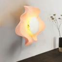 Metal Floral Style Lighting Fixture Modern Chic Living Room 1 Light LED Wall Light in Pink