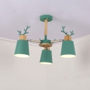 Metal Antler Design Hanging Light Nordic Style Boys Girls Bedroom 3/6 Lights Chandelier in Green
