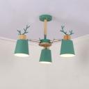 Metal Antler Design Hanging Light Nordic Style Boys Girls Bedroom 3/6 Lights Chandelier in Green