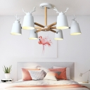Wooden Branching Hanging Light with Antler Decoration Kindergarten 6 Lights Chandelier Light in White