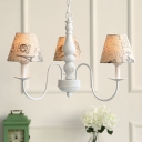 Triple Heads Shaded Suspended Light American Retro Metal Hanging Chandelier in White Finish