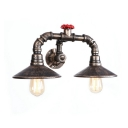 Antique Bronze Curved Arm Sconce Light Rustic Style Metallic 2 Bulbs Wall Light with Flared Shade