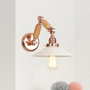 Opal Glass Cone Wall Sconce with Swing Arm Modernism Single Head Wall Lamp in Rose Gold