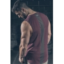 Men's Trendy Logo Patched Back Breathable Cotton Workout Training Tank Top