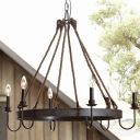Rust 6 Light Candle Style LED Chandelier 31.5 Inches Wide Industrial Style Ring Chandelier for Living Room Restaurant