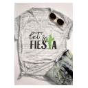 Funny Cactus Letter LET'S FIESTA Printed V-Neck Short Sleeve Grey T-Shirt