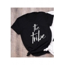 Simple Letter THE TRIBE Print Black Street Style T-Shirt