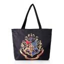 46*8*37cm Fashion Harry Potter Hogwarts University Badge Print Black Shopping Shoulder Bag