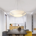 Metal and Acrylic Round Chandelier Simple White Finish LED Hanging Pendant Fixture for Living Room Conference Room