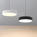 Round Puff Pendant Light Fixtures Modern Simple Style Metal LED Suspension Light in Black/White