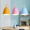 Basket LED Pendant Light Nordic Macaroon Single Head Light Fixture in Blue/Pink/Yellow