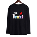 Round Neck Long Sleeve Cartoon Pattern Casual Loose Fitted T-Shirt