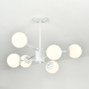 6 Light Branching Hanging Light Simple Modern White Glass Decorative Chandelier Lamp