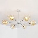 Cognac Glass Bubble Chandelier Modernism 6 Light Art Deco Drop Light for Hallway