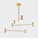 Gold Open Bulb Suspension Lamp Modern Fashion Metal Multi Light LED Hanging Light