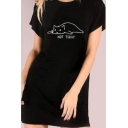 Round Neck Short Sleeve Cartoon Cat Letter NOT TODAY Printed Mini Black Sheath T-Shirt Dress