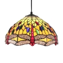 12-Inch Wide Tiffany Style Dome Shaped Pendant Light with Dragonfly Glass Shade in Colorful Finish