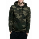 Fashion Classic Camouflage Printed Long Sleeve Regular Fitted Pullover Hoodie