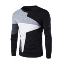 Men's Fashion Unique Geometric Colorblock Crewneck Long Sleeve Regular Fitted Pullover Sweatshirt