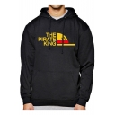 New Stylish Long Sleeve Letter THE PIRATE KING Logo Pattern Casual Loose Fit Drawstring Hoodie