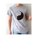 Abstract Cat Printed Short Sleeve Round Neck Tee for Women