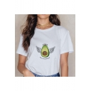 Funny Letter HOLY GUACAMOLE Avocado Printed Short Sleeve Round Neck Popular White Tee