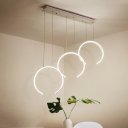 Vertical Ring LED Pendant Lamp Simplicity Modern Metal 3 LED Drop Light for Dining Room