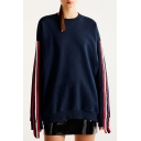 Hot Sale Long Sleeve Crewneck Striped Letter SORRY NOTMY PROBLEM Printed Navy Oversize Sweatshirt