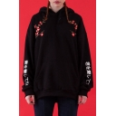 Novelty Long Sleeve Floral Letter Embroidered Black Boxy Casual Hoodie