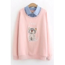 Lapel Collar Patch Long Sleeve Cat Letter Embroidered Leisure Relaxed Pullover Sweatshirt