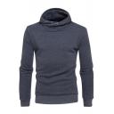 Men's Basic Simple Plain Long Sleeve Casual Leisure Pullover Hoodie