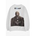 Guys Hip Hop Fashion Letter HEYBIG Figure Back Printed Crewneck Cotton Oversize Sweatshirt