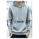 Letter RENAISSANCE Printed Striped Long Sleeve Loose Fitted Drawstring Hoodie