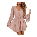 Women's Chic V-Neck Button Front Drawstring Elastic Waist Flared Cuff Chiffon Rompers
