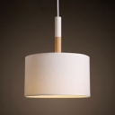 Fabric Drum Lighting Fixture Concise Modern Design Single Head Pendant Light in White