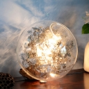 Clear Glass Globe Shade Pendant Lamp with Gold Stainless Flower Decoration Stylish 1 Light Hanging Lamp