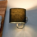 Armed Wall Lamp with Black Round Fabric Shade Modernism Single Head Wall Light Fixture