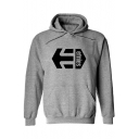 Men's Cool Letter ETHIES Arrow Printed Long Sleeve Boxy Pullover Sports Hoodie