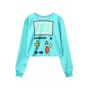 Cartoon Game Letter GAME OVER Print Crewneck Long Sleeve Green Cropped Sweatshirt