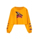 Round Neck Long Sleeve Cartoon Letter FOUR BOX Print Cropped Loose Sweatshirt