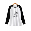 Funny Finger Letter I HATE PEOPLE Print Colorblock Long Sleeve Casual T-Shirt