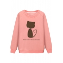 Funny Letter BEAUTY IS NOT A NEED BUT AN ECSTASY Cartoon Cat Print Long Sleeve Fitted Sweatshirt