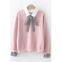 Simple Letter Embroidered Bow-Tied Patched Lapel Collar Long Sleeve Pullover Sweatshirt