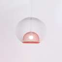 Designers Style Mesh Cage Drop Light Steel 1 Head Suspended Light in White and Red