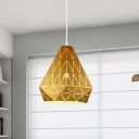 Diamond Shade Hanging Light Designers Style Steel Single Head Pendant Lamp in Brown