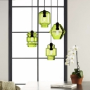 Designers Style Geometric Suspended Light Glass Single Head Hanging Lamp in Green