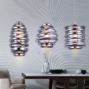 Spiral Suspended Light Modernism Glass 1 Bulb Hanging Lamp in Chrome for Bedroom