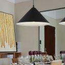 Conical Shade Suspended Light Contemporary Metallic Single Head Pendant Lamp in Black
