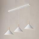 Triple Heads Funnel Drop Light Contemporary Metallic Living Room Lighting in Black/White